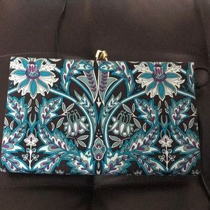 Colorful 100% silk snap top clutch purse